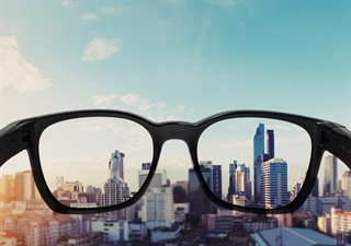 glasses clearly viewing city skyline